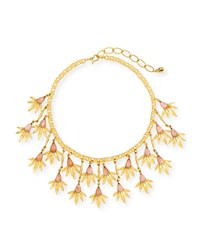 Sequin Pink Floral Statement Necklace Gold