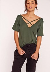 Missguided Tall Khaki V Neck Cross Strap T Shirt