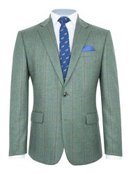 Paul Costelloe Men's Merton Wool Check Blazer Green