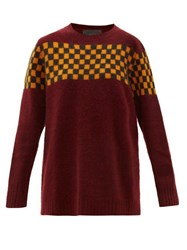 The Elder Statesman Checked Brushed Cashmere Sweater Burgundy