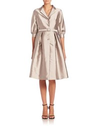 Rickie Freeman For Teri Jon Belted A Line Shirtdress Silver