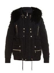 Balmain Fur Trim Hooded Parka Jacket Black