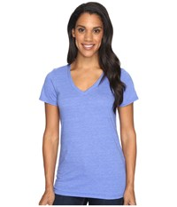 The North Face Short Sleeve Boyfriend Tri Blend Tee Amparo Blue Heather Lavender Blue Women's T Shirt