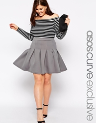 Asos Curve Exclusive Skater Skirt With Deep Waistband Grey