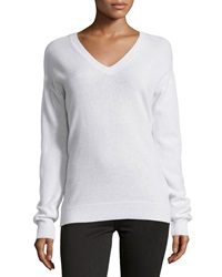 Minnie Rose Cashmere Snap Back Sweater White