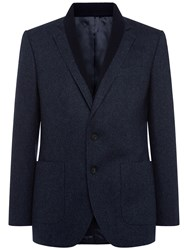 Jaeger Basketweave Virgin Wool Blazer Navy