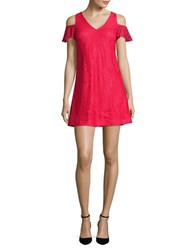 Guess Lace Cold Shoulder Dress Strawberry