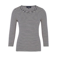 Viyella Twist Neck Stripe Top Navy
