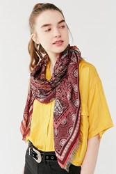 Urban Outfitters Jacquard Square Scarf Red Multi