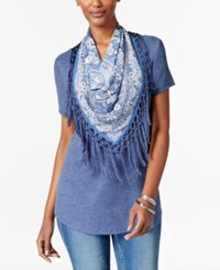 Styleandco. Style Co. Petite T Shirt With Printed Fringe Scarf Only At Macy's New Uniform Blue