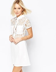 Daisy Street Shirt Dress With Lace Top Cream