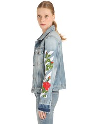 Off White Roses Embroidered Cotton Denim Jacket