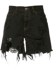 Faith Connexion Destroyed Denim Shorts Black