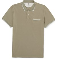 Brunello Cucinelli Slim Fit Cotton Piqua Polo Shirt Green