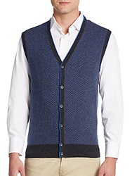 Saks Fifth Avenue Cashmere Sweater Vest Navy Charcoal