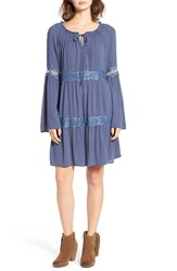 Socialite Women's Lace Inset Peasant Dress Vintage Blue
