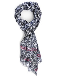 Hartford Blue White Branch Pattern Scarf