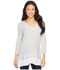 Vince Camuto Double Layer Mixed Media V Neck Top Grey Heather Women's Blouse Gray
