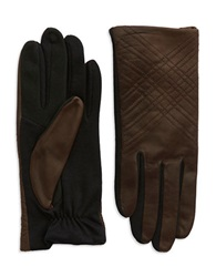 Lord And Taylor Stitched Leather Gloves Brown