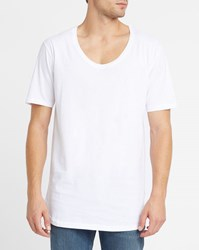 Iriedaily White Long Low Round Neck T Shirt