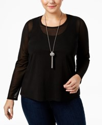 Mblm By Tess Holliday Trendy Plus Size Sheer Top Black
