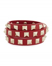 Valentino Triple Wrap Leather Bracelet Red