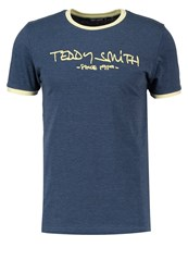 Teddy Smith Ticlass Print Tshirt Mottled Dark Blue
