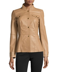 Lafayette 148 New York Leather Snap Front Military Jacket Camel