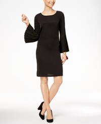 Ny Collection Pleated Bell Sleeve Dress Black