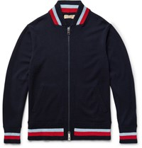 Burberry Cashmere Zip Up Sweater Navy
