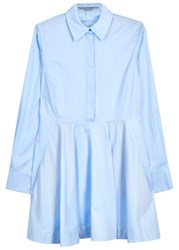 Stella Mccartney Leile Blue Flared Cotton Shirt Dress