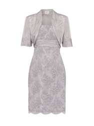 Anoushka G Bethany Beaded Lace Dress With Bolero Grey
