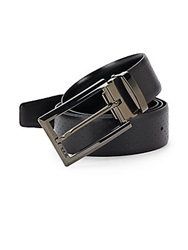 Tumi Perforated Reversible Leather Belt Black