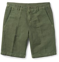 Massimo Alba Linen And Cotton Blend Shorts Green