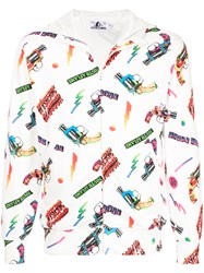 Hysteric Glamour Print Zipped Hoodie White