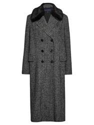 French Connection Rupert Tweed Double Breasted Coat Black White