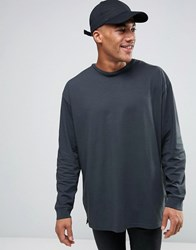 Asos Oversized Long Sleeve T Shirt With Woven Back Panel Grey