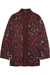 Etoile Isabel Marant Daca Floral Print Quilted Cotton Jacket Burgundy