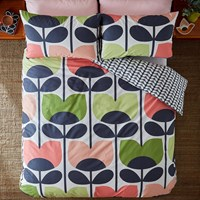 Orla Kiely Climbing Rose Duvet Cover Pale Rose Green Pink