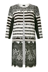 James Lakeland Print Lace Panel Trench White