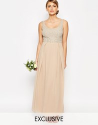 Maya Tonal Embellished Maxi Dress Beige