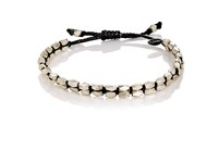 M Cohen M. Men's Beaded Waxed Cord Bracelet Black