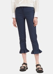 Msgm High Waisted Cropped Frill Pants Navy