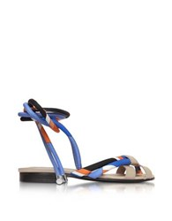 Emilio Pucci Navy Sky Blue And Mandarin Silk And Leather Flat Sandal