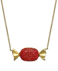 Sis By Simone I Smith 18K Gold Over Sterling Silver Necklace Red Crystal Candy Pendant