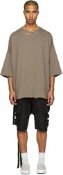 Unravel Taupe Distressed Boxy T Shirt