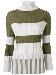 Issey Miyake Pleats Please By Ribbed Jumper Green