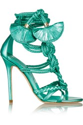 Brian Atwood Yuna Metallic Leather Sandals Jade