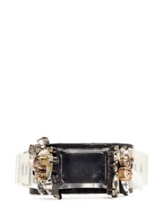 J.Crew Crystal And Leather Cuff Bracelet Black
