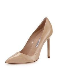 Manolo Blahnik Bb Patent 105Mm Pointed Toe Pump Beige